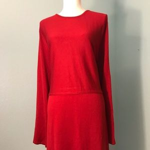 J Jill Red Knit Dress, Long Sleeves, Drop Waist